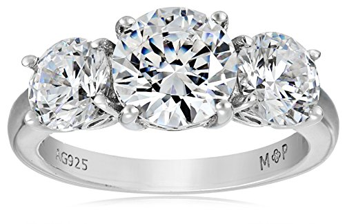 Amazon Collection Platinum-Plated Sterling Silver Round 3-Stone Ring made with Swarovski Zirconia (4 cttw), Size 7