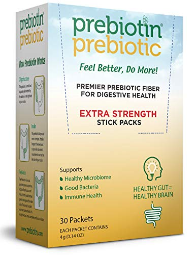Prebiotin Prebiotic Fiber Powder - 4 Gram Stick Packs – 30 Count - Formulated to Support Digestive Health - Balances Gut Microbiome, Boosts Your Own Probiotics & Enhances Immunity