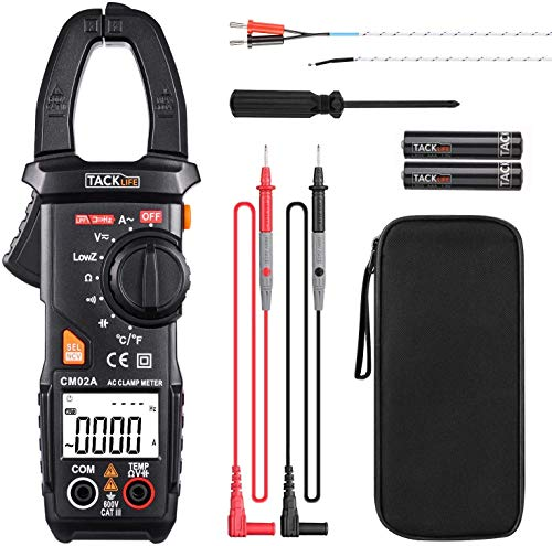 Clamp Meter, Digital Multimeter 600 Amp TRMS 6000 Counts NCV with AC Current AC/DC Voltage Test Resistance Continuity Capacitance Temperature Measure Auto-Ranging - Tacklife CM02A