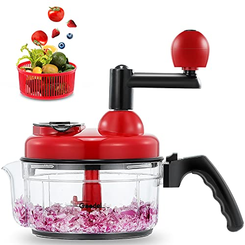 Geedel Hand Food Chopper, Vegetable Quick Chopper Manual Food Processor, Easy To Clean Food Dicer Mincer Mixer Blender, Rotary Onion Chopper for Garlic, Salad, Salsa, Nuts, Meat, Fruit, Ice, etc