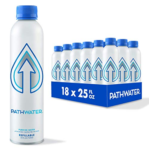 PATH Purified and pH Balanced Still Bottled Drinking Water in Eco-Friendly BPA-Free Bottle, Lightweight Aluminium Reusable Packaged Bottled Water 25 Fl Oz (Pack of 18)