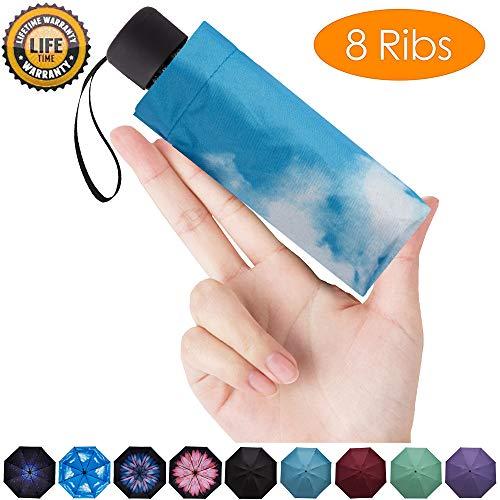 Goothdurs Mini Travel Compact Windproof Umbrella - Small Folding Lightweight Sun & Rain Umbrellas with 95% UV Protection for Women Men