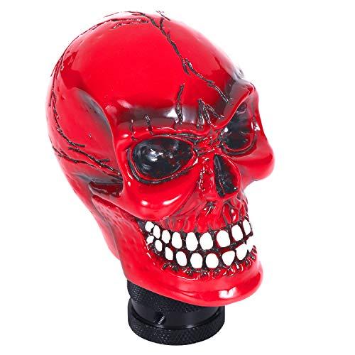 Bashineng Skull Gear Shifter Handle, Devil Head Shape Auto Car Stick Shift Knob Fit Most Manual Transmissions (Red)