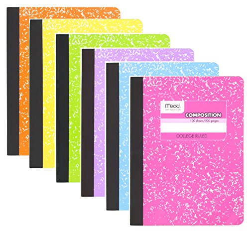 Mead Composition Book, 6 Pack of Cute Notebooks, College Ruled paper, Hard Cover 100 sheets (200 Pages) , Pastel Color Notebook,