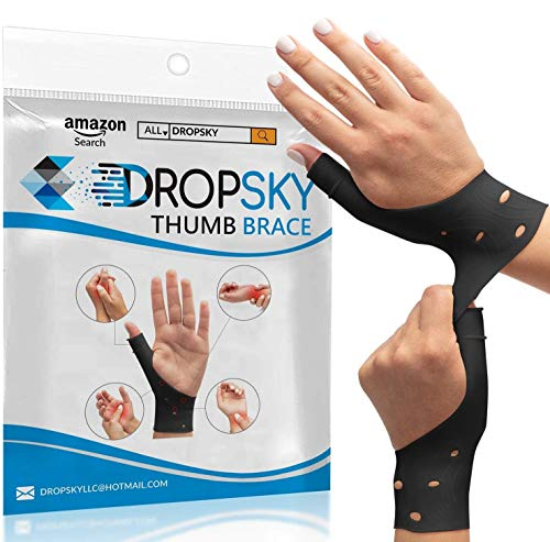 DropSky [4 Pieces] Gel Wrist Thumb Support Braces Soft Waterproof, Relief Pain Carpal Tunnel, Arthritis Thumb, Fits Both Hands, Lightweight, Therapy Rubber-Latex, Stabilizer Support (Black)