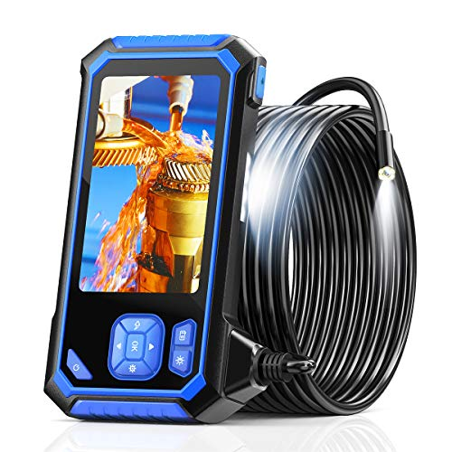 Industrial Endoscope, SKYBASIC 1080P HD Digital Borescope Inspection Camera Waterproof 4.3 Inch LCD Screen Snake Camera with 6 Adjustable LED Lights, Semi-Rigid Cable, 32GB TF Card and Tool (16.5FT)
