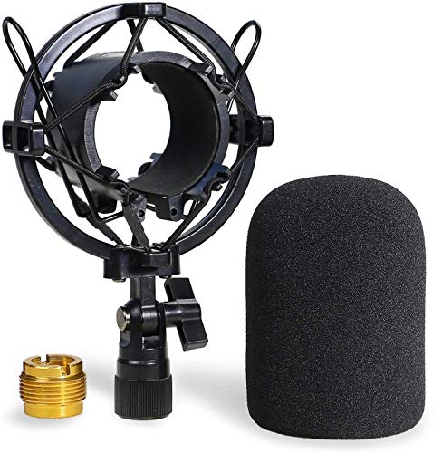 AT2020 Shock Mount with Pop Filter - Foam Windscreen with Microphone Shockmount Reduces Vibration Noise and Blocks Out Plosives for Audio Technica AT2020 AT2035 ATR2500 Condenser Mic by YOUSHARES