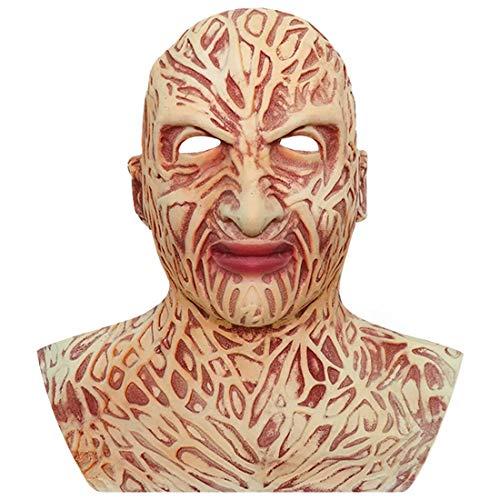 Freddy Krueger Mask with Neckline Horror Scary Evil Devil Demon PVC Mask Halloween Party Costume Props Beige
