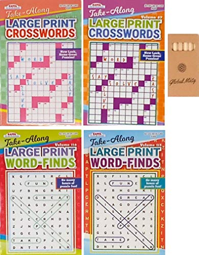 Combo Pack of 2 Word Finds Puzzle Book For Adults and 2 Large Print Crossword Puzzle Books For Adults includes Global Mktg Pencils (titles may vary) Also Includes Pencils