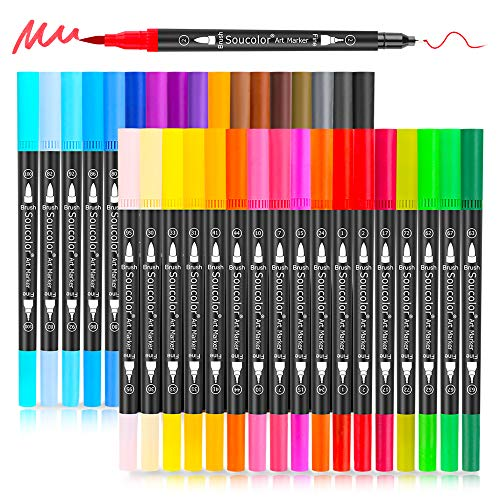 Artist Brush Markers Pens for Adult Coloring Books, 34 Colors Numbered Dual Tip (Brush and Fineliner) Art Marker Pen for Note taking Planner Hand Lettering Calligraphy Drawing Writing Journaling