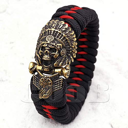 CooB EDC Paracord Survival Outdoor Bracelet with Awesome Hand-Casted Metal Shackle Buckle Indians Chief (1pcs/Lot)