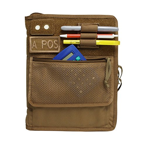 Tactical 3-Ring Binder Cover, Military Field Admin & Map Case, for 9x6 Paper, Zippered (Coyote Brown)
