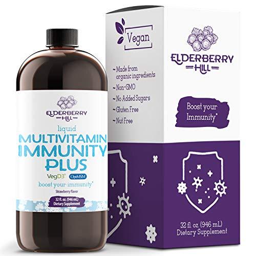 Vegan Liquid Immunity Plus Multivitamin with Antioxidants, Vitamin A B C D3 E K, Zinc, MSM, Amino Acids, Trace Minerals, for Immune Support, Non GMO for Adults & Kids - Strawberry 32oz.