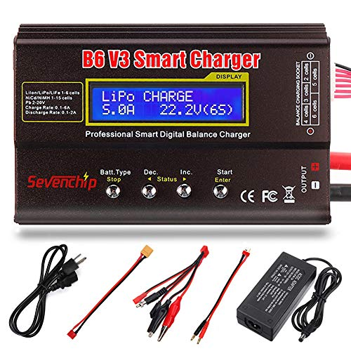 Lipo Charger Balance Charger Discharger for LiPo/Li-ion/Li-Fe/LiHV Battery (1-6S),NiMH/NiCd (1-15S),PB (2-24V),LCD Display with Power Supply (Smart Lipo Charger)