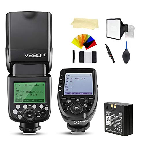 Godox V860II-S TTL 2.4G High Speed Sync 1/8000s GN60 Li-ion Battery Camera Flash Speedlite Light Compatible for Sony Cameras & Godox XPro-S Wireless Flash Trigger Transmitter
