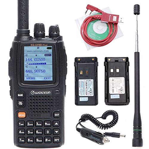 Wouxun KG-UV9D Plus Long Range Cross Band Repeater Dual Band Ham Two Way Radio with 2 Batteries (2000/3200mAh) ,Antenna, USB Program Cable and car Charger