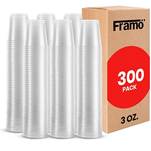 3 Oz Clear Disposable Plastic Cups by Framo, Small Disposable Bathroom Mouthwash Cups (Clear, 300)