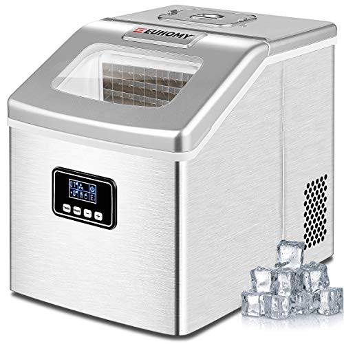 Euhomy Ice Maker Machine Countertop, 40Lbs/24H Auto Self-Cleaning, 24 pcs Ice Cube in 13 Mins, Portable Compact Ice Cube Maker, With Ice Scoop & Basket, Perfect for Home/Kitchen/Office/Bar (Sliver)
