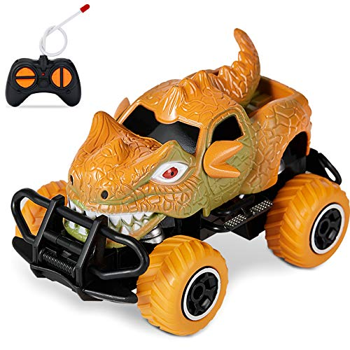 HahaGift Dinosaur Toys for Kids 3-5, Dinosaur Remote Control Car, Ideal Christmas Birthday Gifts for Boys Age 3 4 5 6 7 Year Old, Fast RC Car Toys for 3-8 Year Old Boy, Kids, Toddler (Orange)