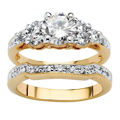 Palm Beach Jewelry 18K Yellow Gold Plated Round Cubic Zirconia Bridal Ring Set Size 6