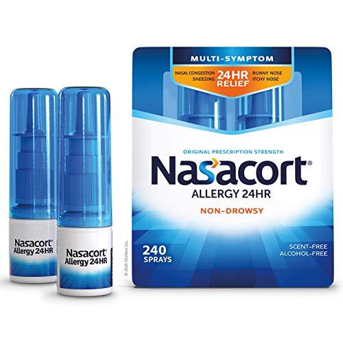Nasacort Allergy 24HR Nasal Spray for Adults, Non-Drowsy & Alcohol-Free, 120 Sprays, 0.57 fl. oz. 2pk