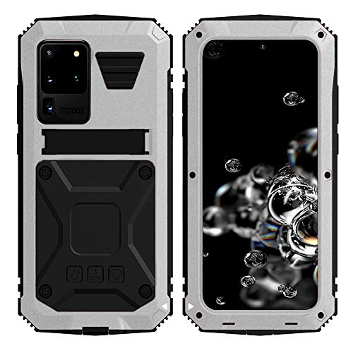 Simicoo Samsung S20 Plus Metal Bumper Silicone Case Hybrid Military Shockproof Heavy Duty Rugged Defender case Built-in Screen Protector Stand Camera Lens Protector Cover for S20 Plus (Sliver)