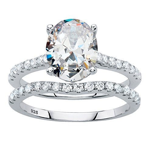 Platinum over Sterling Silver Oval Cut and Round Cubic Zirconia 2 Piece Bridal Ring Set Size 7