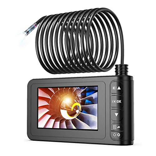 Industrial Endoscope, SKYBASIC 1080P HD Digital 33FT Borescope Camera Waterproof 4.3 Inch LCD Screen Snake Camera Video Inspection Camera with 6 LED Lights, Semi-Rigid Cable, 16GB TF Card and Tool