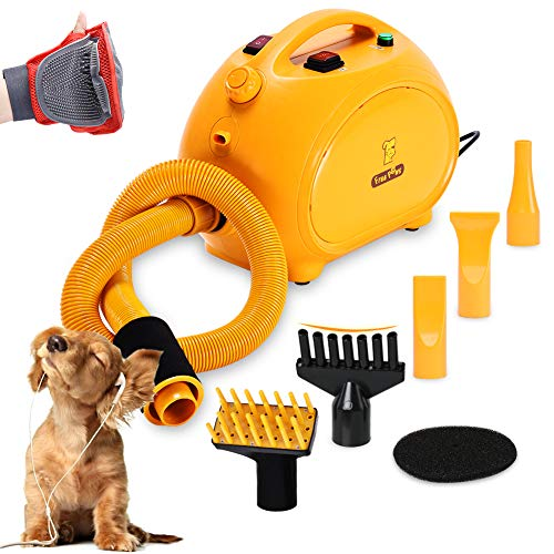 Free Paws Negative Ions Dog Dryer 4.0 HP 2 Speed Adjustable Heat Temperature Pet Dog Grooming Hair Dryer Blower Professional with 5 Different Nozzles and a Shower Massage Glove (Yellow)