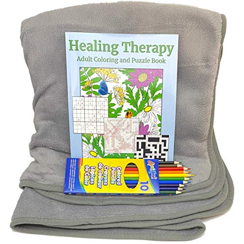 Get Well Gifts Set - Plush Fleece Blanket Throw Bundle with Adult Coloring and Puzzle Book, and Colored Pencils - Care Package for Women, Men and Teens After Surgery or Illness (Gray)