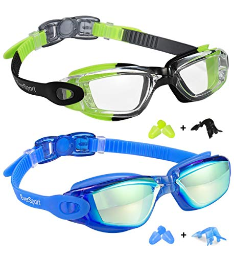 Kids Swim Goggles 2 Pack, Green/Black & Mirrored Blue, Swimming Goggles for Teenagers, Anti-fog Anti-UV Youth Swimming Glasses, Leakproof, Free ear plugs, one button open straps, for 4-16 Y/O