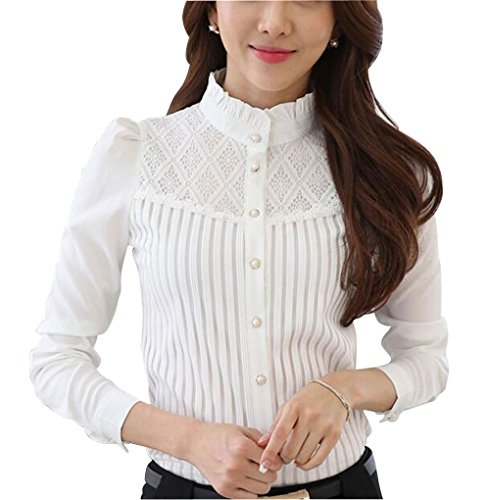 Womens Vintage Collared Button Down Shirt Long Sleeve Lace Stretch Blouse Stand Up White 2