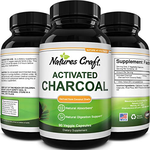 Cleanse and Detox Activated Charcoal Capsules - Pure Activated Carbon Detox Capsules for Bloating Relief and Weight Loss Cleanse - Active Charcoal Capsules for Gas Relief Gut Health and Stomach Relief