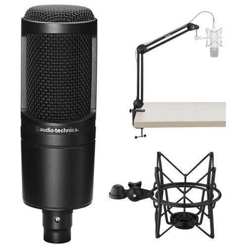 Audio-Technica AT2020 Cardioid Condenser Microphone with MBA38 Microphone Boom Arm and SHM-SCM1 Suspension Shockmount