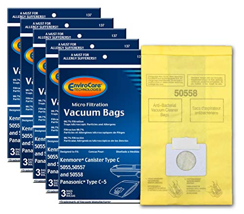 EnviroCare Replacement Micro Filtration Vacuum Bags to fit Kenmore Canister Q. 5055, 50557 and 50558 Panasonic Type C-5 Models 15 Pack, 15, Yellow, Count