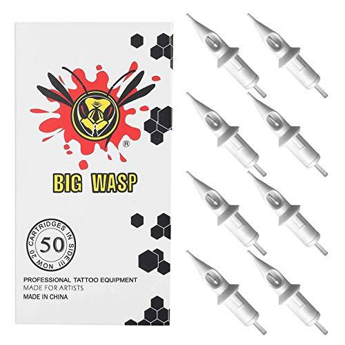 BIGWASP 50pcs Assorted Disposable Tattoo Needle Cartridges Round Liner Mixed 3RL 5RL 7RL 9RL 11RL (50pcs #10 Bugpin RL)