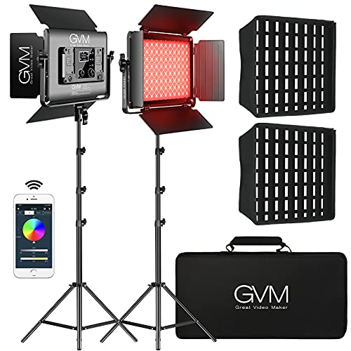 GVM 1000D RGB Led Video Light with 2 Softboxes, Photography Lighting Kit with Bluetooth Control, Full Color Video Lighting Kit with 8 Applicable Scenes, 2 Packs Led Light Panel for Video Shooting