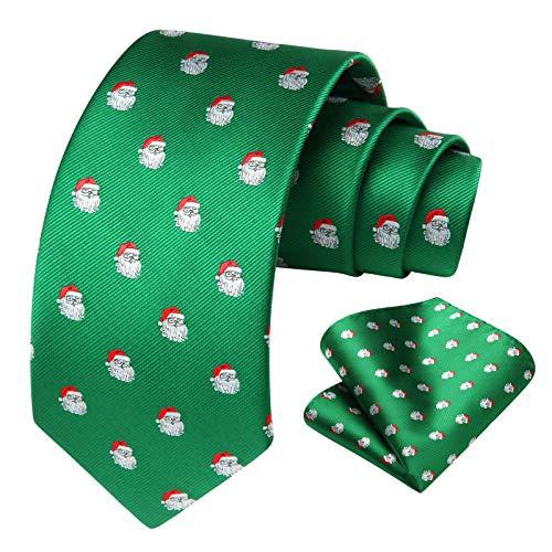 HISDERN Men's Christmas Tie Santa Pattern Woven Party Necktie & Pocket Square Set
