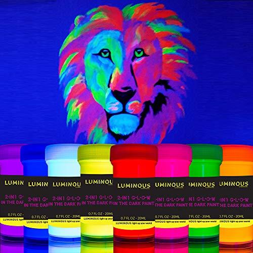 Luminous 2-in-1 Glow in The Dark & UV Black Light Paint - Set of 8 Self-Luminous & Fluorescent Neon Paints – Phosphorescent Paint – Glowing Neon Paint by individuall - 8 x 20 ml / 0.7 fl oz