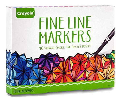 Crayola Fine Line Markers, Adult Coloring Set, Stocking Stuffers for Teens, 40 Count