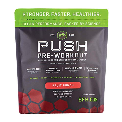 Push Pre-Workout Powder (Fruit Punch) by SFH   Best Tasting 5g BCAA's for Muscle Repair   Non-Dairy, No Artificial Flavors, Colors, or Sweeteners (Bag)