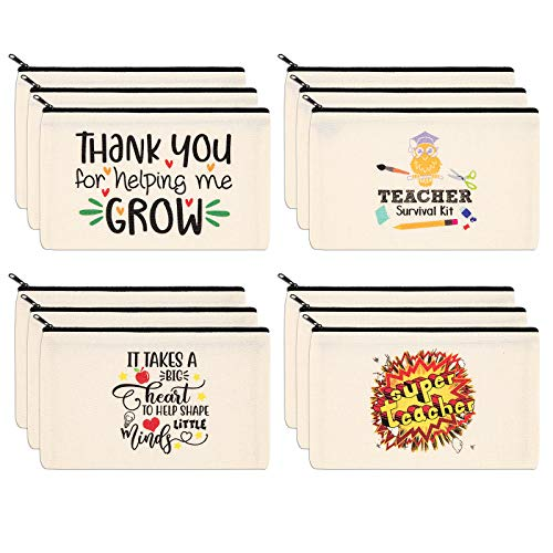 PARBEE Teacher Gift Makeup Bag, 12PCS Canvas Cosmetic Pouch Zippered Toiletry Bags Pencil Case, Appreciation Gifts for Teachers