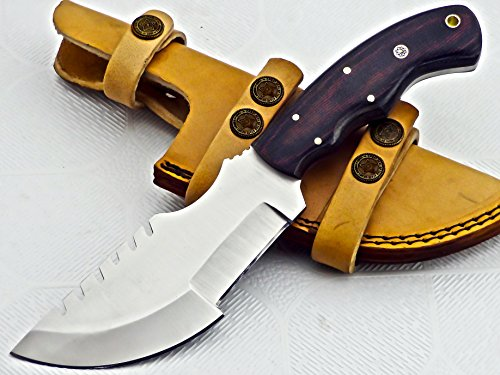 TR-1213, CUSTOM HANDMADE D2 STEEL TRACKER KNIFE – Stunning Micarta Handle Grip
