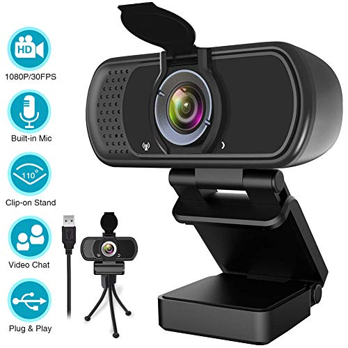 1080P Webcam,Live Streaming Web Camera with Stereo Microphone, Desktop or Laptop USB Webcam with 110-Degree View Angle, HD Webcam for Video Calling, Recording, Conferencing, Streaming, Gaming