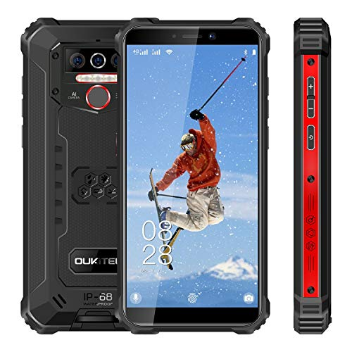 Rugged Cell Phone Unlocked OUKITEL WP5 Pro, 8000mAh Battery, 4GB+64GB ROM, Android 10 Rugged Smartphone, 5.5 Inch IP68 Waterproof Shockproof Phone with 4 LED Flashlights, Triple Camera, Dual SIM 4G
