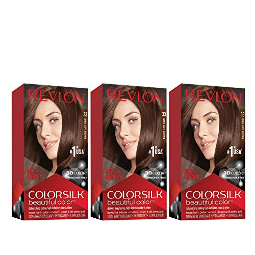 REVLON Colorsilk Beautiful Color Permanent Hair Color with 3D Gel Technology & Keratin, 100% Gray Coverage Hair Dye, 33 Dark Soft Brown, 4.4 oz (Pack of 3)
