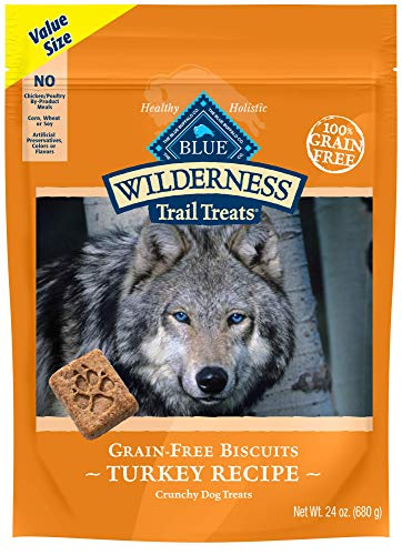 Blue Buffalo Wilderness Trail Treats High Protein Grain Free Crunchy Dog Treats Biscuits, Turkey Recipe 24-oz bag