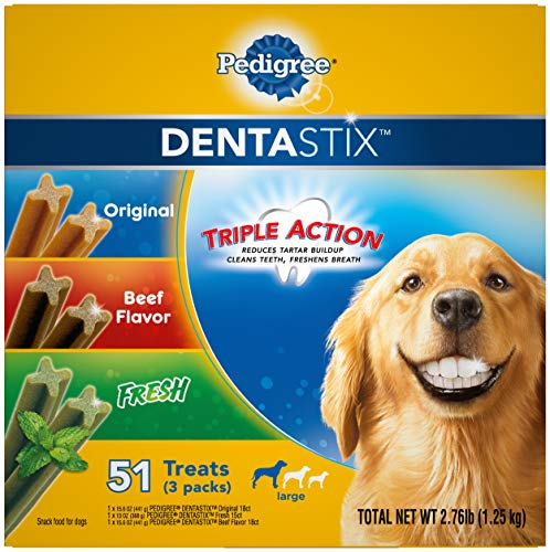 PEDIGREE DENTASTIX Large Dog Dental Care Treats Original, Beef & Fresh Variety Pack, 2.76 lb.Pack (51 Treats)
