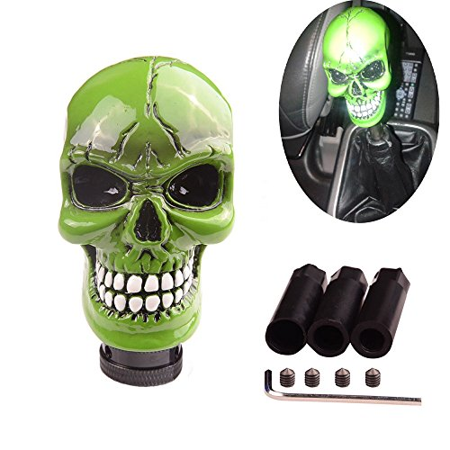 SMKJ Universal Bone Resin Skull Head Style Car Shift Knob Shifter Knobs Lever Gear Stick for Most Manual or Automatic Transmission Vehicles(Green)