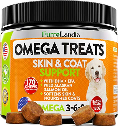 Omega 3 for Dogs - Allergy & Itch Relief Dog Shedding - Wild Alaskan Salmon Oil with Omega 3 6 9 for Dogs - EPA & DHA Fatty Acids - Fish Oil for Dogs Healthy Skin & Coat - 170 Chews (12 OZ)